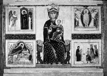 Thronende Madonna mit Heiligen und vier Marienszenen —
