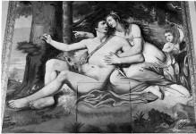 Thronende Madonna mit Heiligen und vier Marienszenen — Thronende Muttergottes mit Kind