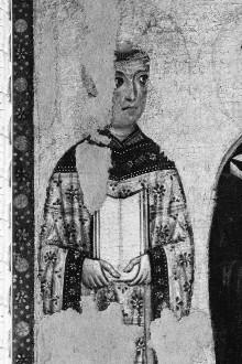 Thronende Madonna mit Heiligen und vier Marienszenen — Seitentafeln mit Heiligendarstellungen — Linke Seitentafel mit Heiligendarstellungen