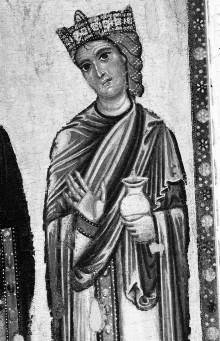 Thronende Madonna mit Heiligen und vier Marienszenen — Seitentafeln mit Heiligendarstellungen — Rechte Seitentafel mit Heiligendarstellungen