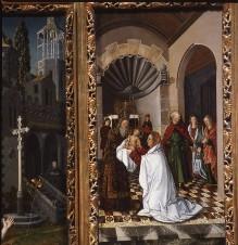 Triptychon der Madonna von Montserrat — Der heilige Sebastian und Präsentation des Christuskindes im Tempel