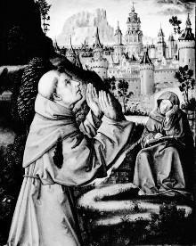 Triptychon der Madonna von Montserrat — Stigmatisation des heiligen Franziskus und Geburt Mariens