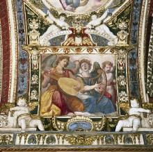Kapellendekoration — Gewölbedekoration mit Gottvater und musizierenden Engeln — Musizierende Engel mit Laute und Harfe