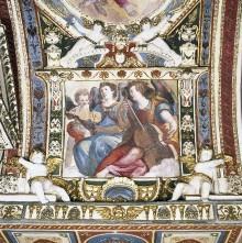 Kapellendekoration — Gewölbedekoration mit Gottvater und musizierenden Engeln — Musizierende Engel mit Geige und Viola da Gamba