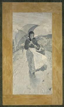 Image from object titled Bemalter Terrakottaboden — Mädchen mit Regenschirm