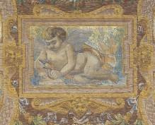 Deckendekoration des Salone Verde — Amor mit Pfeil sowie Tier auf einer Lichtung