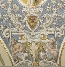 Deckendekoration — Weibliche Allegorien mit den Wappen der Familie Budini Gattai