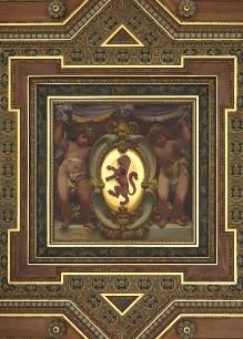 Deckenbilder — Gattai-Wappen mit flankierenden Putti im zentralen Deckenfeld