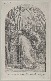 Der heilige Bonaventura verteilt Brot an Gefangene (Tabernakelbild in der heutigen Via Ghibellina in Florenz)