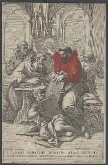 Der heilige Lazarus malt die Madonna