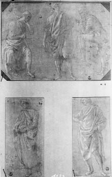 Drei männliche Figuren in verschiedenen Posen