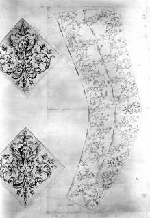 Stickmuster (?) für Ärmel und Ornament
