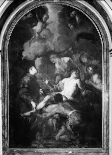 Sant'Antonio di Padova (Tartuca) —; Innenraum — Ausstattung — Linker Seitenaltar: Das Beinwunder des heiligen Antonius