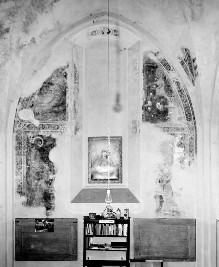 Sant'Agostino in Siena: Fresken der Sakristeikapelle — Stirnwandfresken