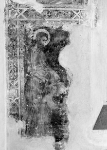 Sant'Agostino in Siena: Fresken der Sakristeikapelle — Stirnwandfresken — Johannes der Täufer und Nikolaus als Fürbitter der Stifter Nikolaus und Johannes Donati