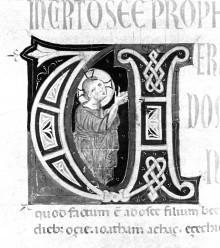 Bibel — Historisierte Initiale U: Hosea, Folio 144verso