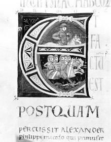 Bibel — Historisierte Initiale E: Bewaffnete Ritter, Folio 170verso