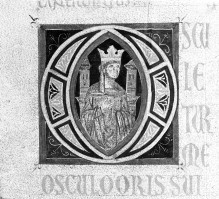 Bibel — Historisierte Initiale O: Der thronende Salomon, Folio 3verso