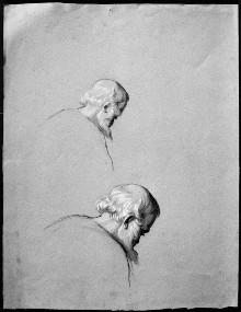 Zwei fast identische Kopfstudien eines alten Mannes