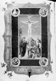 Missale Romanum — Zierseite mit ganzseitiger Miniatur: Kreuzigung mit Maria, Johannes und Magdalena, breitem Bordürenrahmen mit Evangelistenmedaillons, Folio 181verso