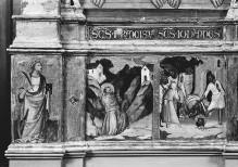 Triptychon — Triptychon: Predella: Stigmatisierung des Franziskus, Enthauptung des Johannes, Schmerzensmann mit Maria und Johannes, Szene aus dem Leben des heiligen Frosinus und Martyrium des Laurentius