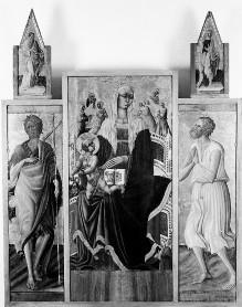 Triptychon mit Aufsätzen: Maria mit dem Kind, Johannes dem Täufer und dem seligen Pietro Crisci