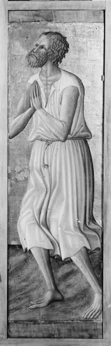 Triptychon mit Aufsätzen: Maria mit dem Kind, Johannes dem Täufer und dem seligen Pietro Crisci — rechte Seitentafel: der selige Pietro Crisci