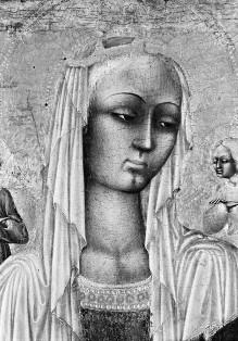 Triptychon mit Aufsätzen: Maria mit dem Kind, Johannes dem Täufer und dem seligen Pietro Crisci — Mitteltafel: Thronende Maria mit dem Kind