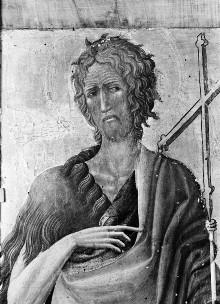 Triptychon mit Aufsätzen: Maria mit dem Kind, Johannes dem Täufer und dem seligen Pietro Crisci — linke Seitentafel: Johannes der Täufer