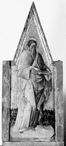 Triptychon mit Aufsätzen: Maria mit dem Kind, Johannes dem Täufer und dem seligen Pietro Crisci — linker Aufsatz: Heiliger Bartholomäus