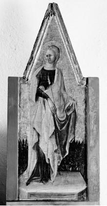 Triptychon mit Aufsätzen: Maria mit dem Kind, Johannes dem Täufer und dem seligen Pietro Crisci — linker Aufsatz: Heilige Ursula