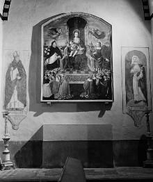 Rosenkranzmadonna mit dem Heiligen Dominikus und einer weiblichen Heiligen (Lucia?)