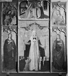 Polyptychon mit der Heiligen Katharina von Siena und den Heiligen Agathe, Lucia, Michael und Gabriel sowie der Verkündigung