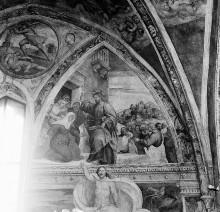 Christologischer Zyklus — Lünetten — Geburt Christi, Predigt Jesu, Tondo: Kain erschlägt Abel