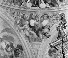 Freskenzyklus: Szenen aus dem Leben Mariens — Tambourfresken — Zwickel: vier Kirchenväter, Putti