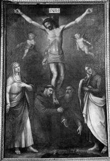 Kreuzigungsaltar — Kreuzigung Christi mit Stadtansicht von Volterra