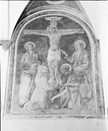 Kreuzigung mit Maria, Johannes und zwei männlichen Heiligen