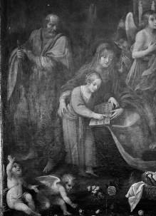 Anna unterweist Maria im Lesen