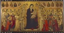 Maestà — Maestà — Thronende Madonna mit Kind, Engeln, Heiligen und Aposteln