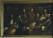 Gruppenbildnis von sieben Hofmusikern Ferdinando de' Medicis