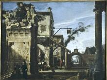 Römische Ruinen mit dem Schild eines Wirtshauses