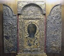 Anchiskhati-Ikone — Christus Pantokrator mit Maria und Johannes dem Täufer links und rechts in der Ikonenrahmung, die Etimasia oben