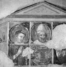 Szenen aus dem Leben des Heiligen Sixtus — Papst Sixtus II. mit seinen Diakonen Felicissimus und Agapito im Gefängnis