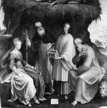 Die Transfiguration auf dem Berg Tabor mit der Heiligen Katharina, dem Heiligen Antonius Abbas, dem Heiligen Fedele und dem Heiligen Hieronymus