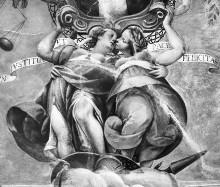 Innenausstattung mit Herrscherallegorien des Hauses Savoyen — Die Krönung des savoyischen Wappens