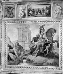 Innenausstattung mit Herrscherallegorien des Hauses Savoyen — Allegorie des Hauses Savoyen mit der Personifikation des Flusses Rodano und dem Herzogtum Aosta