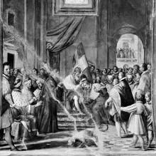 Innenausstattung mit Herrscherallegorien des Hauses Savoyen — Die Bestätigung der Herzogswürde von Amadeo VIII.