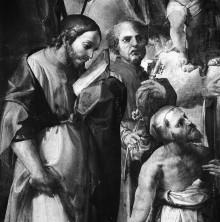 Die Madonna mit Kind, den Heiligen Hieronymus, Paulus, Petrus, Jakobus Major und dem Seligen Raniero Fasani