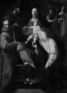 Thronende Madonna mit dem Kind, dem Johannesknaben, der Heiligen Katharina von Siena, dem Heiligen Berhard von Siena und dem Heiligen Franziskus