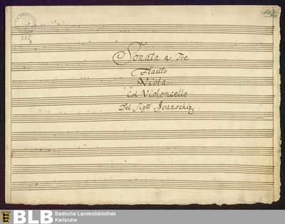 Image from object titled Sonatas - Mus. Hs. 225 : fl, vla, vlc ; G ; RieA 18 Hob V:F3 GroT 6455-G